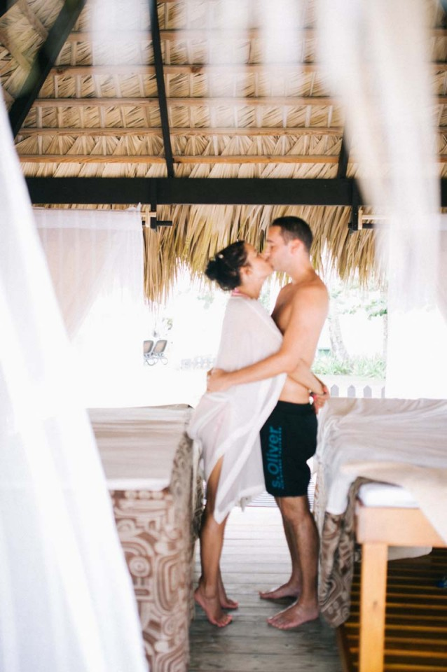 Couple after wedding at dominican republic